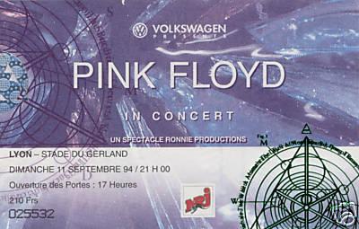 Billet pour le concert des Pink Floyd en 1994 au stade de Gerland à Lyon
